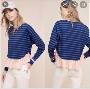 ANTHROPOLOGIE DELETTA Rugby Striped Ruffle Tee